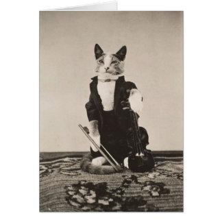 Vintage Cat Violinist, Card