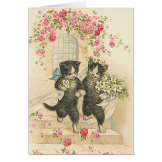 Vintage Cat Wedding Card