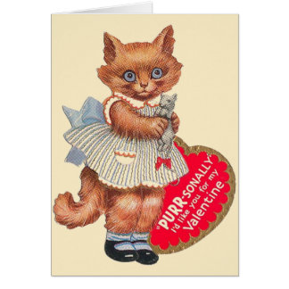 vintage cat with toy mouse valentines - Cat Valentine Cards