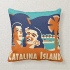 Vintage Catalina Island Luggage Tag Pillow