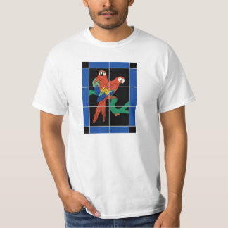 Vintage Catalina Island Tile Mural - Red Parrots T-Shirt