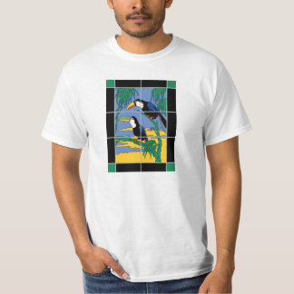 Vintage Catalina Island Tile Toucan Mural Design Tshirt