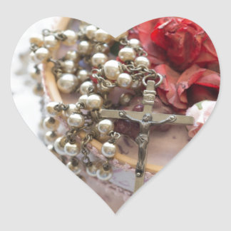 Vintage Catholic Rosary Heart Sticker