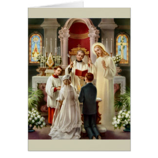 Vintage Catholic Wedding Card