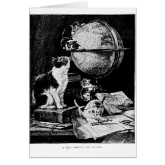 Vintage - Cats and a Globe, Card