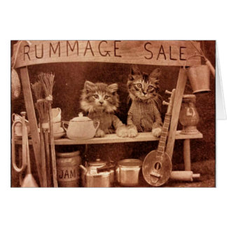 Vintage Cats at a Rummage Sale, Card