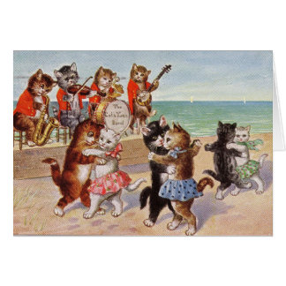 Vintage - Cats Dancing to Jazz on the Beach, Card