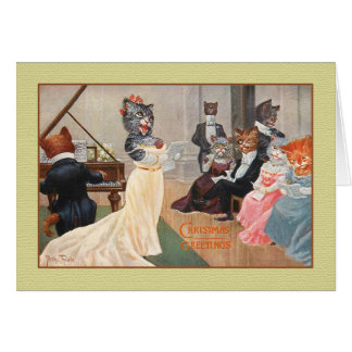Vintage Cats Holiday Greeting Card, Arthur Thiele Card