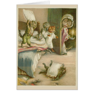 Vintage Cats in a Pillow Fight, Card
