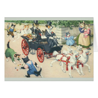 Vintage Cats in Carriage Wedding Greeting Card