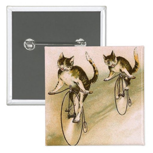 Vintage Cats on Bikes 2 Inch Square Button