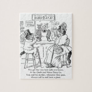 Vintage Cats on Stools Drinking Milk Jigsaw Puzzle