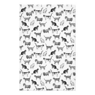 Vintage Cats Pattern Custom Stationery
