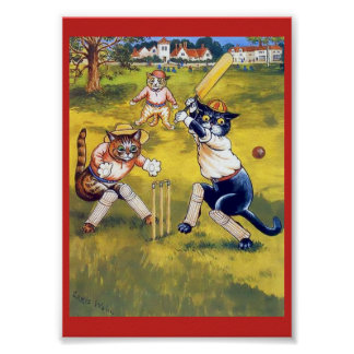 Vintage Cats Playing Cricket Poster
