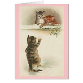 Vintage - Cats Playing in Snow Card