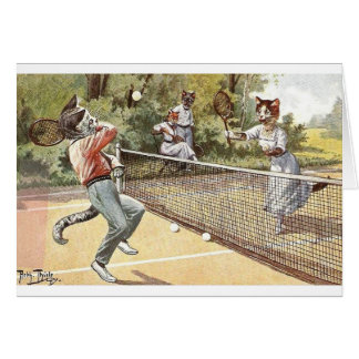 Vintage - Cats Playing Tennis, Card