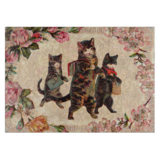 Vintage Cats Pretty Antique Kitty Cutting Board