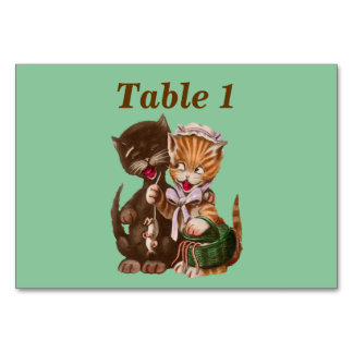 Vintage Cats Rat Gift Basket Table Card