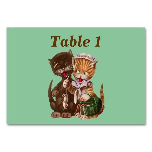 Vintage Cats Rat Gift Basket Table Cards