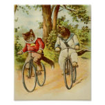 Vintage Cats Riding Bicycles Illustration Poster