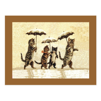 Vintage Cats Umbrellas Snow Postcard