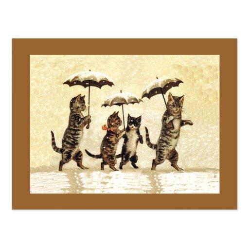 Vintage Cats Umbrellas Snow Post Cards