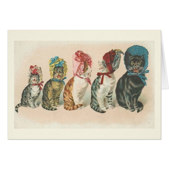 Vintage Cats Wearing Bonnets Note Card