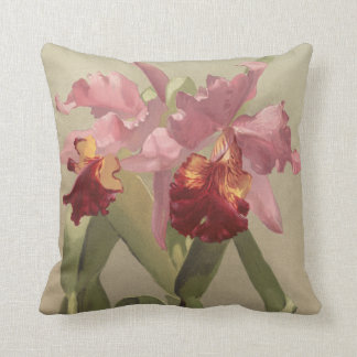 Vintage cattleya orchid pink red throw pillow