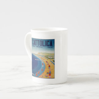 Vintage Cattolica beach Italian travel advertising Tea Cup