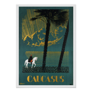 Vintage Caucasus Mountains Travel Poster