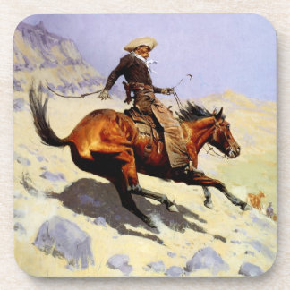 Vintage Cavalry Military, The Cowboy by Remington Beverage Coasters