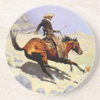 Vintage Cavalry Military, The Cowboy by Remington Coaster
