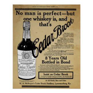 Vintage Cedar Brook Whiskey Bar Print Ad