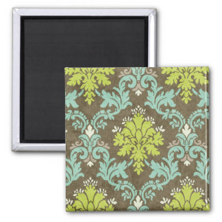 Vintage Celadon and Aqua Damask Square Magnet