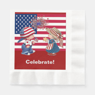 Vintage Celebrate American Flag Luncheon Napkin Paper Napkin