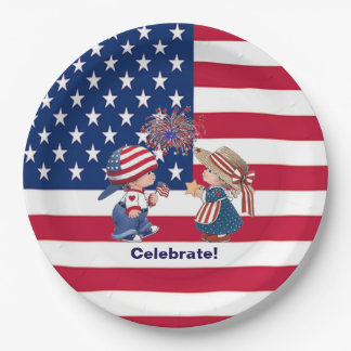 Vintage Celebrate American Flag Paper Plates 9 Inch Paper Plate