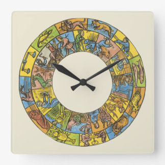 Vintage Celestial, Astrological Zodiac Wheel Square Wall Clock