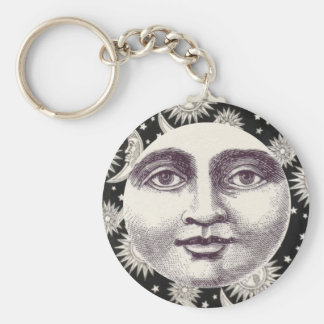 Vintage Celestial Black and White Moon Keychain