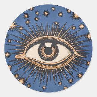 Vintage Celestial Eye Stars Moon Round Sticker