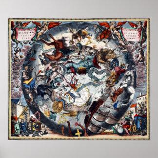 Vintage Celestial Map Cetus Aquarius Andromeda Poster