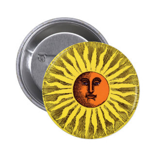 Vintage Celestial Yellow Smiling Happy Hippie Sun 2 Inch Round Button