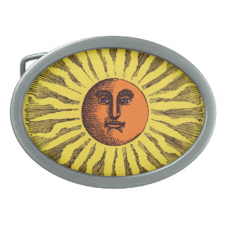 Vintage Celestial Yellow Smiling Happy Hippie Sun Belt Buckles