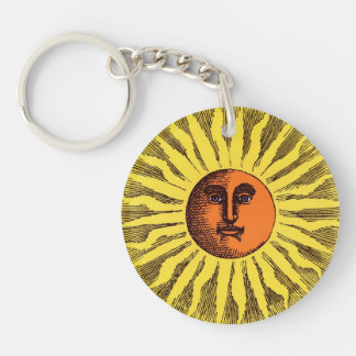 Vintage Celestial Yellow Smiling Happy Hippie Sun Double-Sided Round Acrylic Keychain