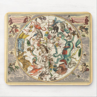 Vintage Celestial Zodiac Star Constellation Map Mouse Pad
