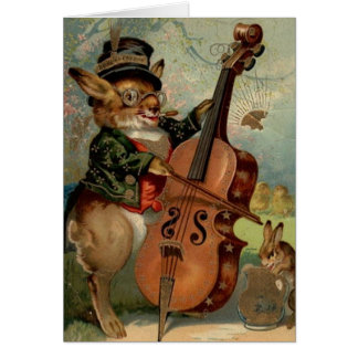 Vintage Cello Playing Easter Bunny Easter Card