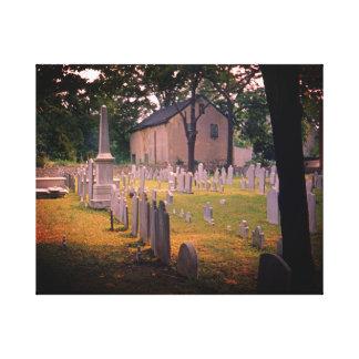 Vintage Cemetary Spooky Cemetery Photo 1950's Canvas Print