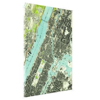 Vintage Central Park & Bronx NY Map (1947) Canvas Print