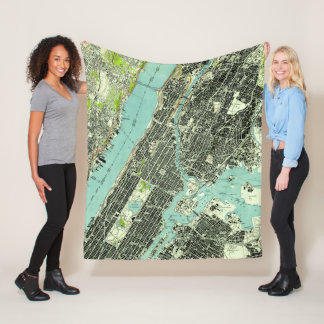 Vintage Central Park & Bronx NY Map (1947) Fleece Blanket