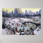 Vintage Central Park Skating Painting Poster