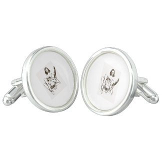 Vintage Chair Pin Up Girl outline Cufflinks